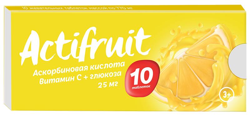 АКТИФРУТ таблетки жевательные 25 мг 10 шт.