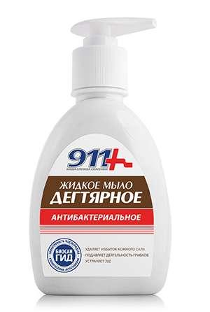 911 мыло жидкое антибактериальное дегтярное 250мл твинс тэк, фото №1