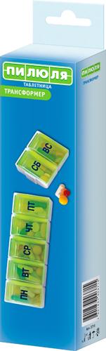 Пилюля таблетница арт.3715 на 7 дней трансформер, фото №1
