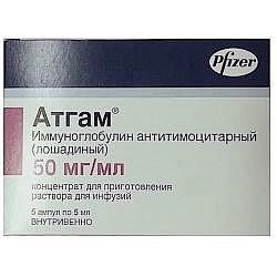 Атгам 50мг/мл 5мл 5 шт. концентрат для приготовления раствора для инфузий