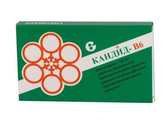 Кандид-в6 100мг 6 шт. таблетки вагинальные с аппликатором, фото №1
