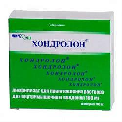 Хондролон 100мг 10 шт. лиофилизат для приготовления раствора для инъекций