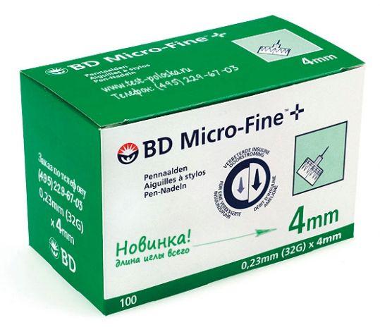 Бектон дикинсон микро-файн плюс иглы для шприц-ручки одноразовые 32g (0,23х4мм) 100 шт., фото №1