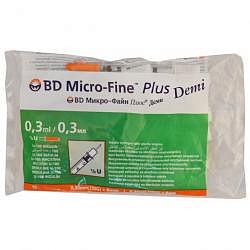 Бектон дикинсон микро-файн плюс шприц инсулиновый 0,3мл u-100 с иглой 30g (0,3х8мм) 10 шт.