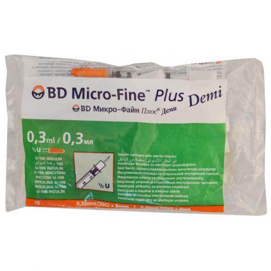 Бектон дикинсон микро-файн плюс шприц инсулиновый 0,3мл u-100 с иглой 30g (0,3х8мм) 10 шт., фото №1