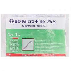 Бектон дикинсон микро-файн плюс шприц инсулиновый 1мл u-40 с иглой 30g (0,3х8мм) 10 шт.
