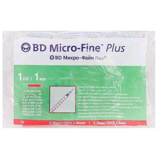 Бектон дикинсон микро-файн плюс шприц инсулиновый 1мл u-40 с иглой 30g (0,3х8мм) 10 шт., фото №1