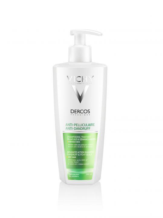 Виши деркос шампунь усиленного действия против перхоти для сухих волос/раздраженной кожи головы 390мл, фото №1