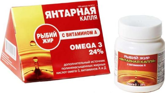 Рыбий жир янтарная капля капсулы витамин а 100 шт., фото №1