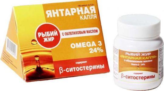 Рыбий жир янтарная капля капсулы облепиховое масло 100 шт., фото №1