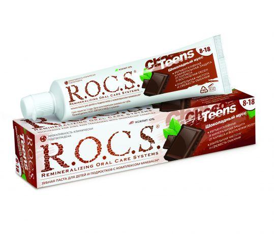 Рокс тинс зубная паста шоколадный мусс 74г, фото №1