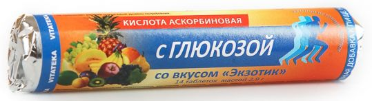 Витатека аскорбинка таблетки 30мг с глюкозой экзотик 2,9г 14 шт., фото №1