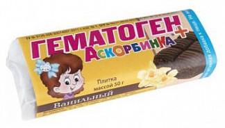 Гематоген+аскорбинка плитка ваниль 50г