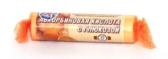 Аскорбиновая кислота с глюкозой гленвитол таблетки 25мг апельсин 10 шт. крутка, фото №1