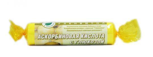 Аскорбиновая кислота с глюкозой гленвитол таблетки 25мг лимон 10 шт. крутка, фото №1