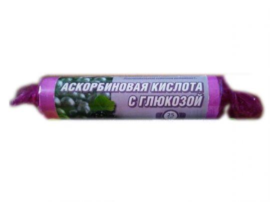 Аскорбиновая кислота с глюкозой гленвитол таблетки 25мг черника 10 шт. крутка, фото №1
