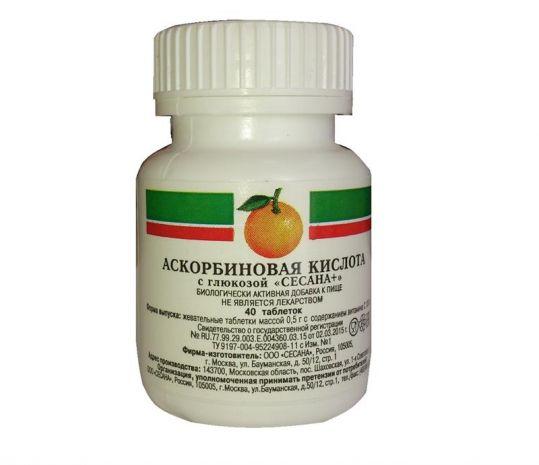 Аскорбиновая кислота с глюкозой таблетки 500мг 40 шт., фото №1