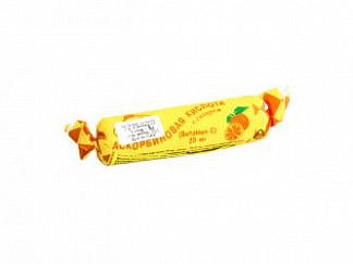 Аскорбиновая кислота с сахаром таблетки 25мг апельсин 3г 10 шт. крутка