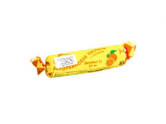 Аскорбиновая кислота с сахаром таблетки 25мг апельсин 3г 10 шт. крутка, фото №1