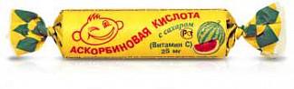 Аскорбиновая кислота с сахаром таблетки 25мг арбуз 3г 10 шт. крутка
