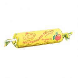 Аскорбиновая кислота с сахаром таблетки 25мг яблоко 3г 10 шт. крутка