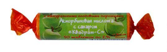 Аскорбиновая кислота с сахаром таблетки яблоко 2,9г 10 шт., фото №1
