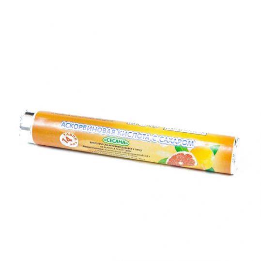 Аскорбиновая кислота с сахаром таблетки жевательные малина 14 шт. крутка, фото №1