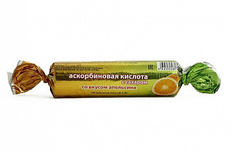 Аскорбиновая кислота эко таблетки с сахаром апельсин 10 шт. крутка