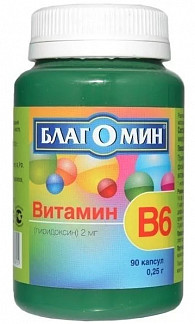 Благомин капс. 0,25г витамин в6 (2мг) n90