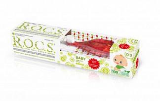 Рокс беби набор для малышей зубная паста душистая ромашка 0-3 года 45г+зубная щетка