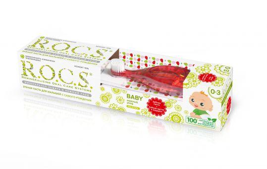 Рокс беби набор для малышей зубная паста душистая ромашка 0-3 года 45г+зубная щетка, фото №1