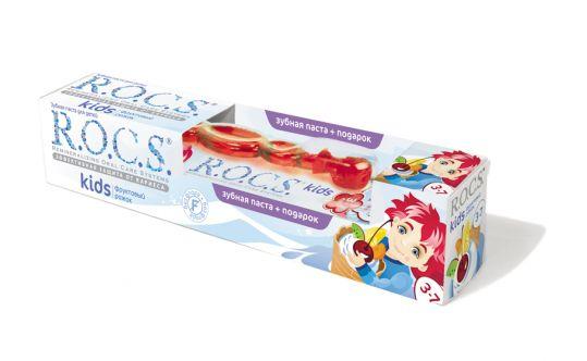 Рокс кидс набор зубная паста фруктовый рожок 45г+зубная щетка, фото №1