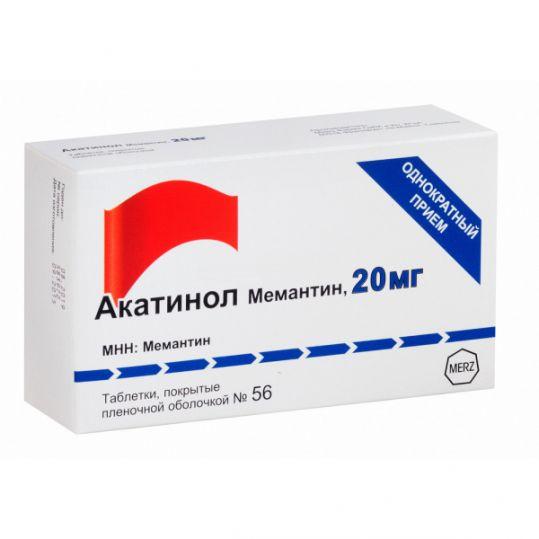 Акатинол мемантин 20мг 56 шт. таблетки покрытые пленочной оболочкой, фото №1