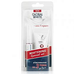 Глобал вайт набор отбеливающий гель-карандаш + зубная паста + капы в подарок
