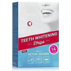 Глобал вайт полоски отбеливающие для зубов с активным кислородом 14 шт.
