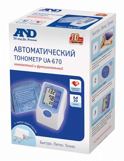 Анд тонометр автоматический ua-670 с адаптером, фото №2
