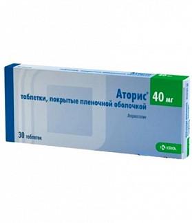 Аторис 40мг 30 шт. таблетки покрытые пленочной оболочкой