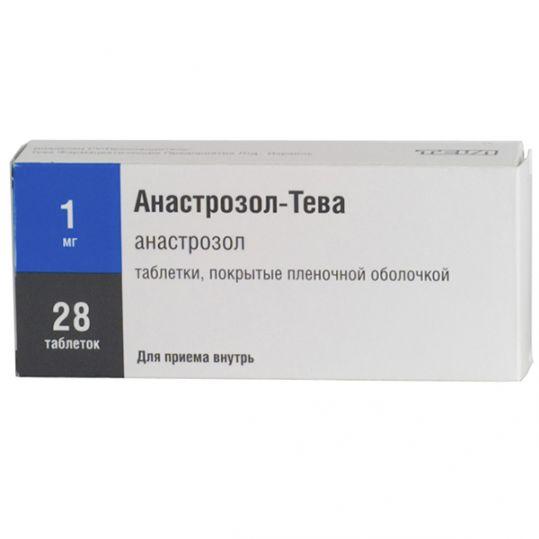 Анастрозол-тева 1мг 28 шт. таблетки покрытые пленочной оболочкой, фото №1