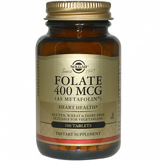 Солгар фолат метафолин таблетки 400мкг 50 шт.