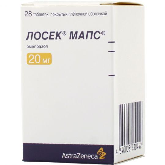 Лосек мапс 20мг 28 шт. таблетки покрытые пленочной оболочкой, фото №1