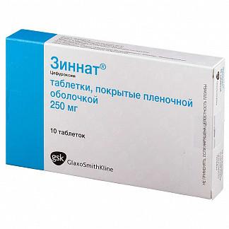 Зиннат 250мг 10 шт. таблетки покрытые пленочной оболочкой