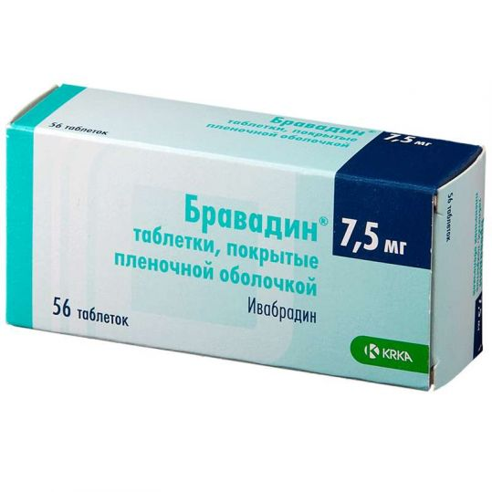 Бравадин 7,5мг 56 шт. таблетки покрытые пленочной оболочкой, фото №1