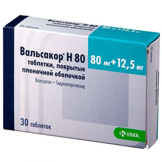 Вальсакор н 80мг+12,5мг 28 шт. (n30) таблетки покрытые пленочной оболочкой, фото №1
