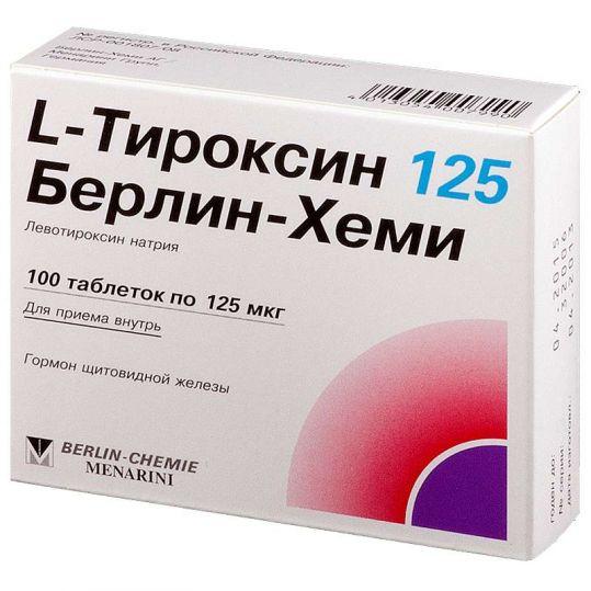 L-тироксин 125 берлин-хеми 100 шт. таблетки, фото №1
