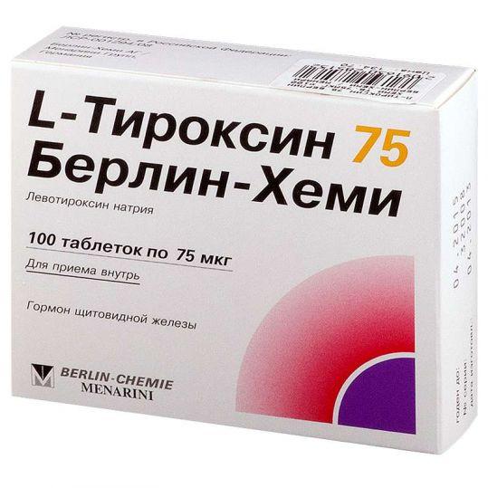 L-тироксин 75 берлин-хеми 100 шт. таблетки, фото №1