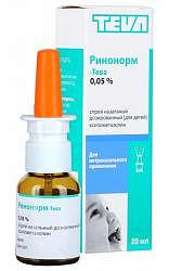 Ринонорм-тева 0,05% 20мл спрей назальный дозированный для детей