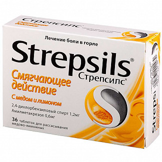 Стрепсилс n36 таб. д/рассасывания мед-лимон