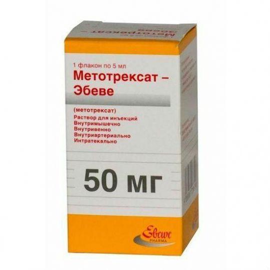 Метотрексат-эбеве 50мг 5мл раствор для инъекций флакон, фото №1