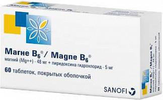 Магне в6 60 шт. таблетки покрытые оболочкой санофи винтроп индустрия