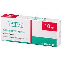 Аторвастатин-тева 10мг 30 шт. таблетки покрытые пленочной оболочкой